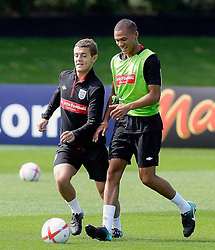 09.08.2010. Arsenal Training Ground, London, ENG, Nationalteam England Training, im Bild Jack Wilshere (Arsenal)  with Kieran Gibbs (Arsenal), EXPA Pictures © 2010, PhotoCredit: EXPA/ IPS/ Marcello Pozzetti *** ATTENTION ..*** UK AND FRANCE OUT! / SPORTIDA PHOTO AGENCY