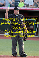 26 July 2014:  Umpire Steve Dunahue during a Frontier League Baseball game between the Lake Erie Crushers and the Normal CornBelters at Corn Crib Stadium on the campus of Heartland Community College in Normal Illinois