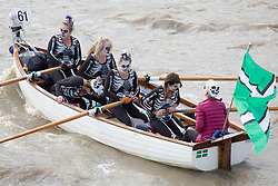 September 9, 2017 - London, London, UK - London, UK. Over 300 craft have taken part in the 30th Great River Race. London's River Marathon sees a wide variety of boats with crews from around the world rowed from Millwall to Richmond upon Thames. (Credit Image: © Rob Powell/London News Pictures via ZUMA Wire)