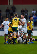 England flanker George Nott and Australia's Izack Rodda get physical with each other during the World Rugby U20 Championship  match England U20 -V- Australia U20 at The AJ Bell Stadium, Salford, Greater Manchester, England on June  15  2016, (Steve Flynn/Image of Sport)
