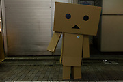 A cardboard robot costume during the Halloween celebrations Shibuya, Tokyo, Japan. Saturday October 27th 2018. The celebrations marking this event have grown in popularity in Japan recently. Enjoyed mostly by young adults who like to dress up, drink , dance and misbehave in parts of Tokyo like Shibuya and Roppongi. There has been a push back from Japanese society and the police to try to limit the bad behaviour.