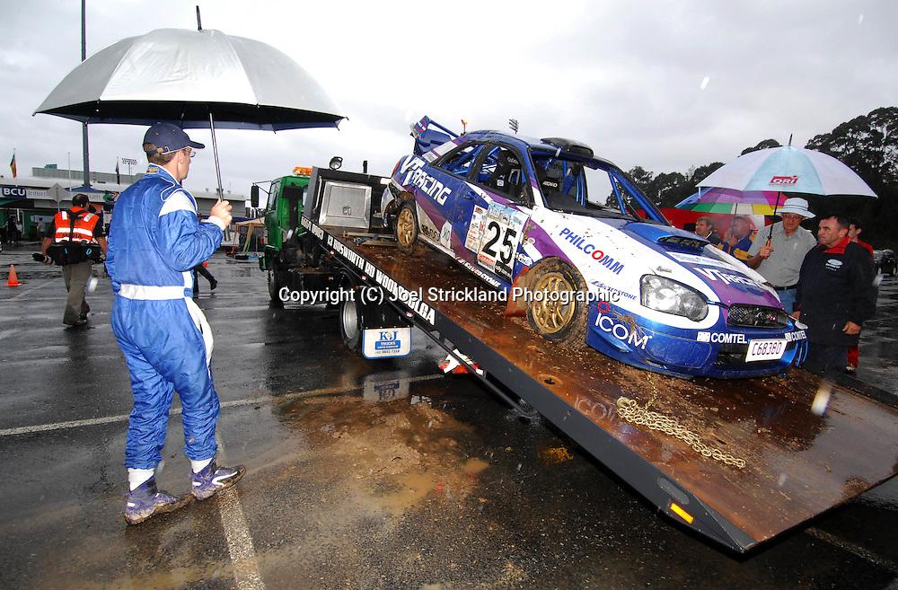 Matt Van Tuinen & John McCarthy after accident.Motorsport-Rally/2008 Coffs Coast Rally.Heat 2.Coffs Harbour, NSW.16th of November 2008.(C) Joel Strickland Photographics