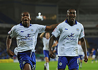 Football - Carling Cup Round Three - Cardiff vs. Leicester<br /> Lloyd Dyer of Leicester City celebrates with Neil Danns (l) having scored their second goal at the Cardiff City Stadium