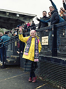 Dulwich Hamlet fan during the Dulwich Hamlet FC V Margate for the last game of the season at DHFC temporary ground at Imperial Fields on 28th April 2018 in Mitcham, South London in the United Kingdom. Dulwich Hamlet was founded in 1893 and both teams play in the Isthmian League Premier Division, a regional mens football league covering London, East and South East England.