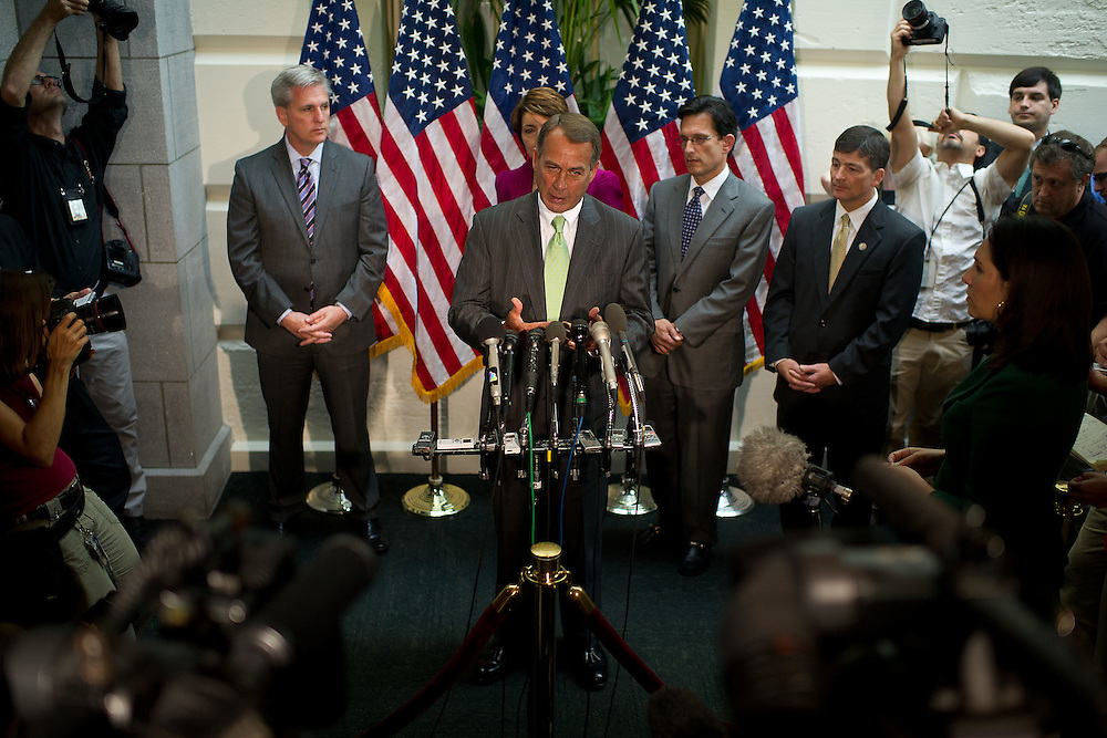 Speaker of the House Rep. John Boehner (R-OH) addresses reporters during a press conference after a caucus meeting on the debt ceiling on Tuesday, July 12, 2011 in Washington.  (Photo by Jay Westcott/Politico)
