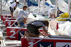 Crews prepare the boats for racing. Portimao Portugal Match Cup 2010. World Match Racing Tour. Portimao, Portugal. 23 June 2010. Photo: Gareth Cooke/Subzero Images