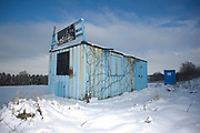 A roadside transport cabin, The Pit Stop Cafe, is closed for business following heavy snowfall throughout East Anglia on the 07th January 2010 in Kelvedon in the United Kingdom.