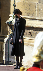 The Duchess of Cambridge at the Galilee Porch of St George's Chapel, Windsor Castle, Berkshire, during the funeral of the Duke of Edinburgh. Picture date: Saturday April 17, 2021.