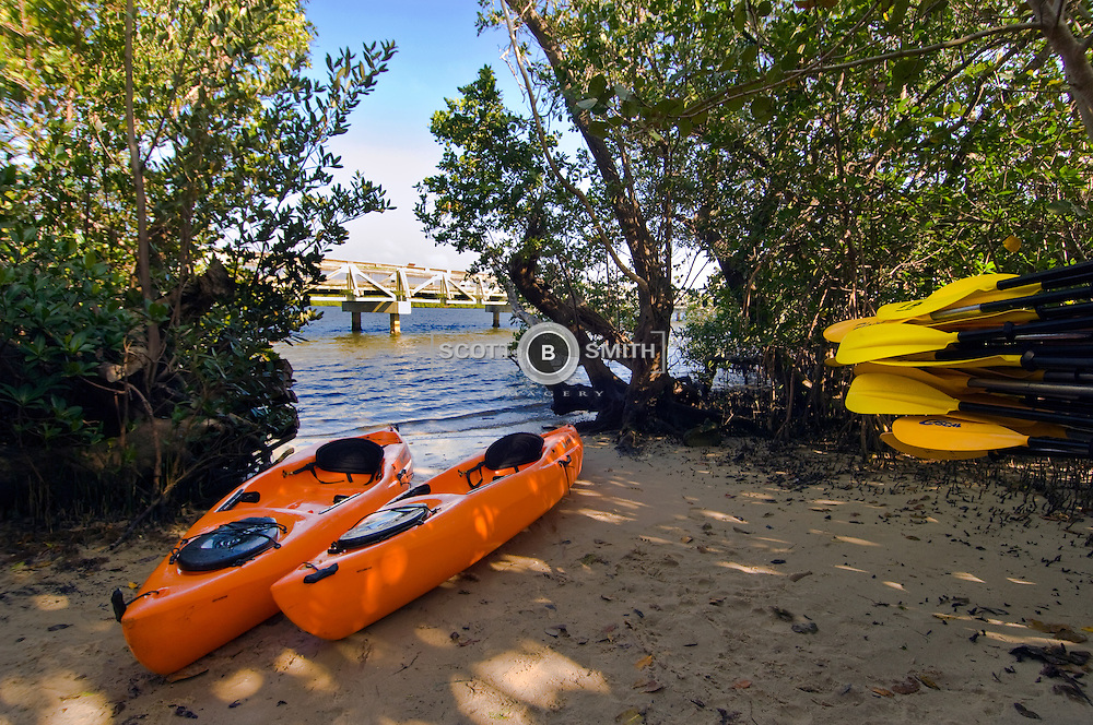 Kayak launch / recovery area in John D MacArthur State Park, North Palm Beach County, Florida