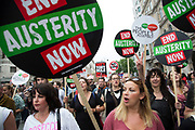 London, UK. Saturday 20th June 2015. Charlotte Church attending the People's Assembly against austerity demonstration through Central London. 250,000 people gathered to protest in a march through the capital protesting against the Tory cuts, holding placards and banners.