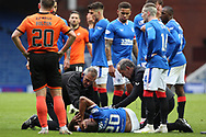Alfredo Morelos (Rangers) suffers a bad injury during the Scottish Premiership match between Rangers and Dundee United at Ibrox, Glasgow, Scotland on 12 September 2020.