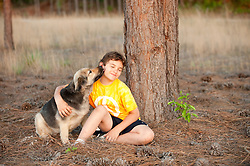Boy getting licked by a dog seated under a tree