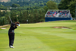 Gleneagles, Scotland, UK; 10 August, 2018.  Day three of European Championships 2018 competition at Gleneagles. Men's and Women's Team Championships Round Robin Group Stage. Four Ball Match Play format.  Pictured; Georgia Hall of Great Britain plays approach to 8th green  in match against Belgium.