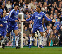 Photo: Leigh Quinnell.<br /> Chelsea v Norwich City. The FA Cup. 17/02/2007.<br /> Chelseas Didier Drogba claims it is easy after his goal against Norwich.