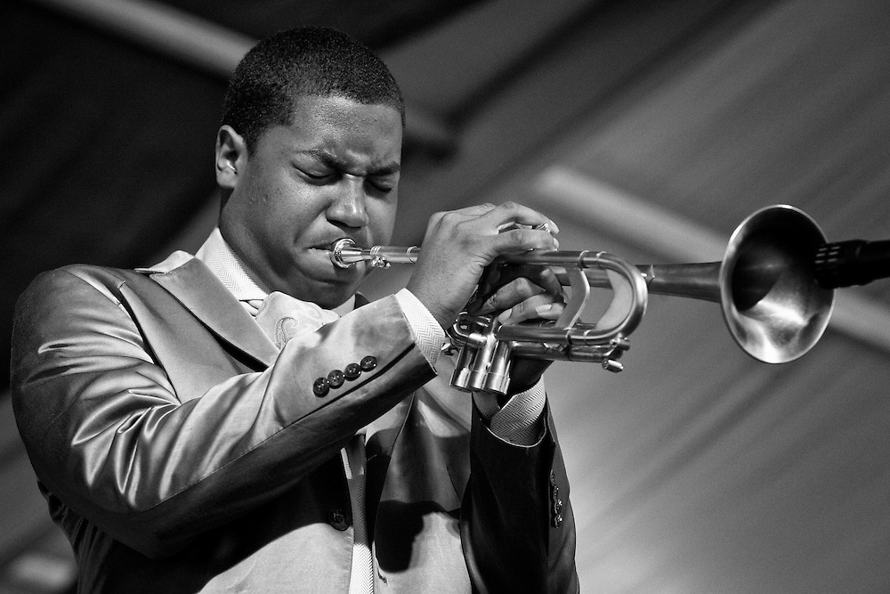 Christian Scott performing on the WWOZ stage in the Jazz Tent at the New Orleans Jazz and Heritage Festival on April 30, 2006 in New Orleans, Louisiana. USA.
