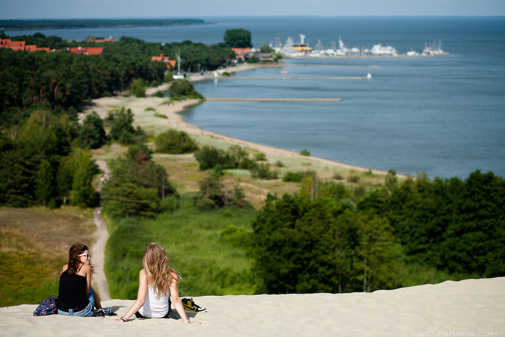 The Curonian Spit, the largest sand spit in the world, separates the Baltic Sea from the Curonian Lagoon and can be reached from Klaipeda, Lithuania by ferry.