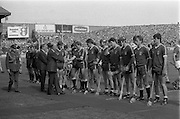 All Ireland Hurling Finals.1986..07.09.1986..09.07.1986..7th September 1986..September,every year,is the highlight of the GAA calendar with The All Ireland Finals being held in both codes. The senior and minor finals in each code are both played for on the same day. Each finalist has battled through provinical and knock out stages to reach the final.It is widely regarded as the pinnacle of a players career to reach and win an All Ireland Championship..In this years hurling finals,Cork played Offaly in the minor championship and a much fancied Galway team took on Cork in the senior final. Both matches were well fought and close encounters...In the senior hurling final Cork emerged victorious with a score of 4.13 (25) to Galways' 2.15 (21)..Photograph of the Galway captain,Noel Lane, introducing his team to the President of Ireland,Dr Patrick Hillery before the game at Croke Park,Dublin.