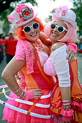 02 March 2014. New Orleans, Louisiana.<br /> Mardi Gras. The lovely ladies of the Pussyfooters at the Krewe of Thoth parade in Uptown New Orleans.<br /> Photo; Charlie Varley/varleypix.com