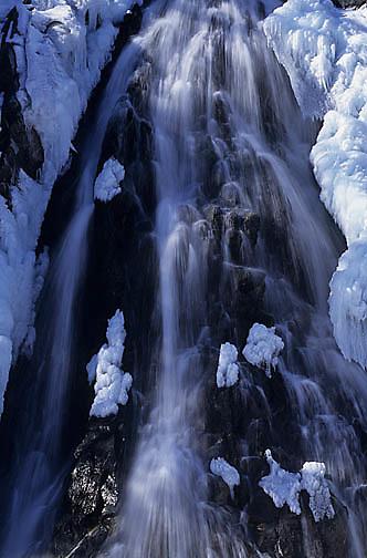 Waterfall along Seward Highway on Alaska Peninsula.
