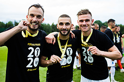 Ziga Kous of NS Mura and Nino Kouter of NS Mura, Luka Bobicanec of NS Mura with medals after winning final match of Slovenian footaball cup for season 2019/202 between team NK Nafta 1903 and NS Mura, Bro pri Kranju on 24 June 2020, Kranj, Slovenia. Photo by Grega Valancic / Sportida