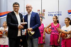 Darko Bulatović and Luc Vergoossen of FIBA during Reception of Women's Eurobasket 2019 teams and FIBA officials at Mayor of City of Nis, on June 29, 2019 in City hall, Nis, Serbia. Photo by Vid Ponikvar / Sportida