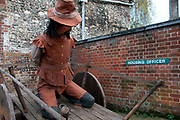 Lewes, Sussex. Bonfire Night November 5th 2013. Guy Fawkes effigy parked up by council offices.