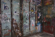 A graffiti-covered doorway in the German city of Berlin district of Kreuzberg.