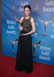 February 17, 2019 - Los Angeles, California, United States of America - Tessa Leigh Williams, winner of Original Short Form New Media, poses in the press room of the 2019 Writers Guild Awards at the Beverly Hilton Hotel on Sunday February 17, 2019 in Beverly Hills, California. JAVIER ROJAS/PI (Credit Image: © Prensa Internacional via ZUMA Wire)