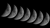 Waxing crescent moon (43%). Composite of seven mages taken at 1 minute intervals with a Nikon D800 camera and 600 mm f/4 lens and TCE 20 III teleconverter (ISO 800, 1200 mm, f/11, 1/1000 sec).