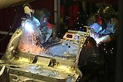 Mlada Boleslav/Tschechische Republik, Tschechien, CZE, 19.03.07: Mitarbeiter beim Schweißen von Karosserieteilen eines Skoda Octavia in der Skoda Auto Fabrik in Mlada Boleslav. Der tschechische Autohersteller Skoda ist ein Tochterunternehmen der Volkswagen Gruppe.<br /> <br /> Mlada Boleslav/Czech Republic, CZE, 19.03.07: Workers at the Skoda factory welding on Octavia assembly line at Skoda car factory in Mlada Boleslav. Czech car producer Skoda Auto is a subsidiary of the German Volkswagen Group (VAG).