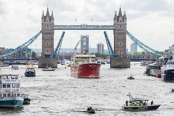 © Licensed to London News Pictures. 15/06/2016. London, UK. A flotilla of fishing trawlers, joined by UKIP leader Nigel Farage, sail up the River Thames to Westminster to coincide with David Cameron's appearance at Prime Ministers Questions. The flotilla is organised by the 'Fishing for Leave' campaign, founded by Scottish fisherman, which argues that the UK's fishing industry would be better off outside the EU, but with the same status as Iceland or Norway when fishing quotas are negotiated. Photo credit: Rob Pinney/LNP