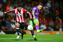 Josh Brownhill of Bristol City takes a shot at goal - Mandatory by-line: Dougie Allward/JMP - 15/08/2017 - FOOTBALL - Griffin Park - Brentford, England - Brentford v Bristol City - Sky Bet Championship