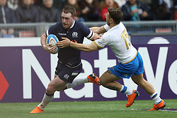 March 17, 2018 - Rome, RM, Italy - Stuart Hogg of Scotland score a point during the Six Nations 2018 match between Italy and Scotland at Olympic Stadium on March 17, 2018 in Rome, Italy. (Credit Image: © Danilo Di Giovanni/NurPhoto via ZUMA Press)