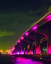 General Douglas MacArthur Causeway with illumination at night, connecting Downtown Miami, South Beach, Miami Beach over Biscayne Bay, Miami, Florida, USA