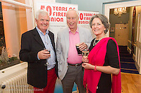 (l to r) Stuart Musgrave, Sandy Blackley, and Magie Blackley at the reunion night to celebrate 50 years of the Irish Fireball Class, held at the Royal St George YC.