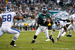 Philadelphia Eagles quarterback Michael Vick #7 looks for a receiver during the NFL Game between the Indianapolis Colts and the Philadelphia Eagles. The Eagles won 26-24 at Lincoln Financial Field in Philadelphia, Pennsylvania on Sunday November 7th 2010. (Photo By Brian Garfinkel)