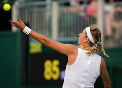 July 1, 2019 - London, GREAT BRITAIN - Victoria Azarenka of Belarus in action during the first round of the 2019 Wimbledon Championships Grand Slam Tennis Tournament against Alize Cornet of France (Credit Image: © AFP7 via ZUMA Wire)