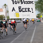 """You deserve a beer!"" sign near 2012 El Tour de Tucson finish line. Bike-tography by Martha Retallick."