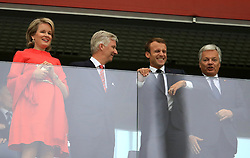 Belgium's Queen Mathilde, Belgium's King Philippe, French President Emmanuel Macron and french Foreign Minister Didier Reynders in the stands