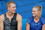 Sam Kendricks and Katie Nageotte of the USA, Men's and Women's Pole Vault, during the Diamond League Meeting at Stade Charlety, Paris, France on 24 August 2019.
