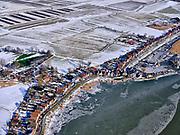 Nederland, Noord-Holland, Gemeente Amsterdam, 13-02-2021; winterlandschap, Durgerdam aan de Durgerdammerdijk met Waterland in de achtergrond.<br /> Winter landscape, Polders in Waterland with Durgerdam.<br /> <br /> luchtfoto (toeslag op standaard tarieven);<br /> aerial photo (additional fee required)<br /> copyright © 2021 foto/photo Siebe Swart