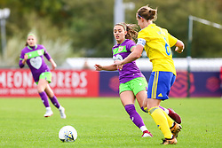 Ella Rutherford of Bristol City challenges Kerys Harrop of Birmingham City Women - Mandatory by-line: Ryan Hiscott/JMP - 14/10/2018 - FOOTBALL - Stoke Gifford Stadium - Bristol, England - Bristol City Women v Birmingham City Women - FA Women's Super League 1