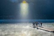 Aiguebelette, FRANCE, General View of  Lake Aiguebelette - Savoie. <br />                                        Coaches confer on the boating area jetty.                               <br />                                                Venue for the 2015 FISA World Rowing Championships,  <br /> <br /> Wednesday  26/08/2015  [Mandatory Credit. Karon PHILLIPS/Intersport Images]. © Peter SPURRIER, Atmospheric, Rowing
