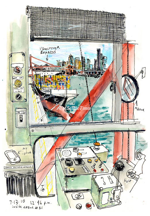 To reach the crane cab where the operator works, Campanario had to climb a narrow open ladder and take a ride on a tiny lift. (Gabriel Campanario / The Seattle Times)