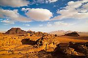 Intricately eroded sandstone formations in Wadi Rum, Jordan.