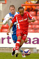 Photo: Ed Godden/Sportsbeat Images.<br /> Leyton Orient v Hartlepool United. Coca Cola League 1. 22/09/2007. Orient's Tamika Mkandawire (R), speeds away from Ian Moore.