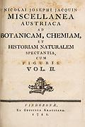 Title page of Miscellanea austriaca ad botanicam, chemiam, et historiam naturalem spectantia, cum figuris partim coloratis. Vol. II  by Nicolai Josephi Jacquin Published 1781.