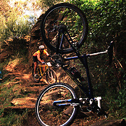 A competitor falls from his bike during a Mountain Bike race in Sydney, Australia.