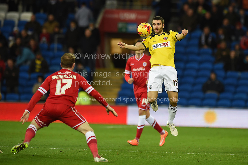 Jon Toral of Brentford (17) controls the ball. Skybet football league championship match, Cardiff city v Brentford at the Cardiff city stadium in Cardiff, South Wales on Saturday 20th December 2014<br /> pic by Andrew Orchard, Andrew Orchard sports photography.