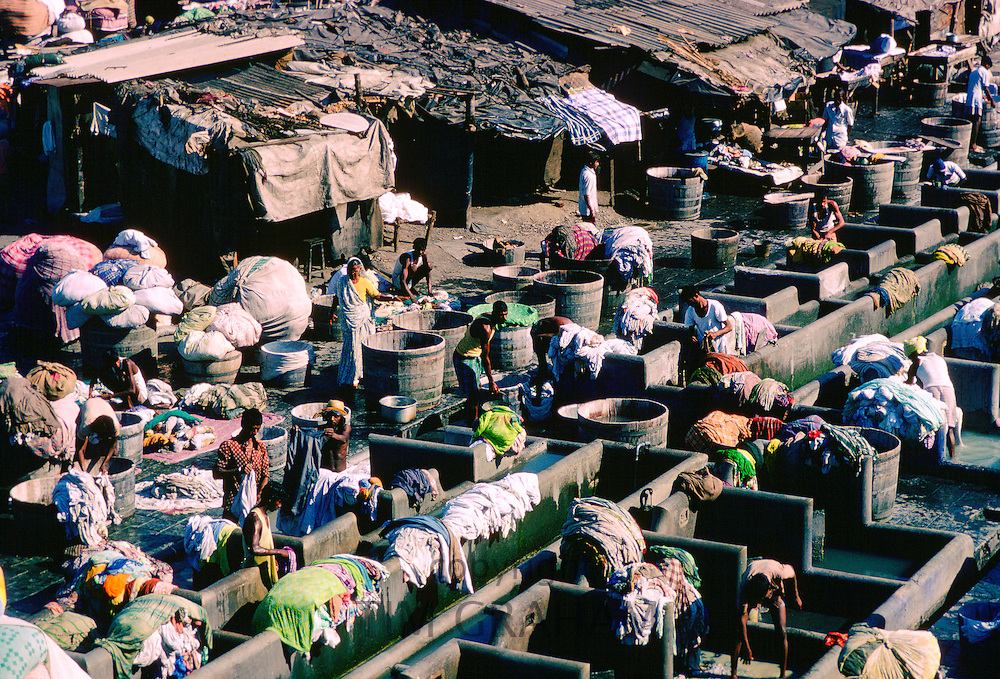 An open air laundry in Bombay, India